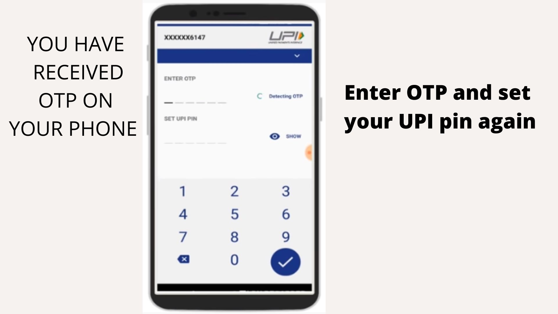 After submitting OTP you can set new UPI PIn
