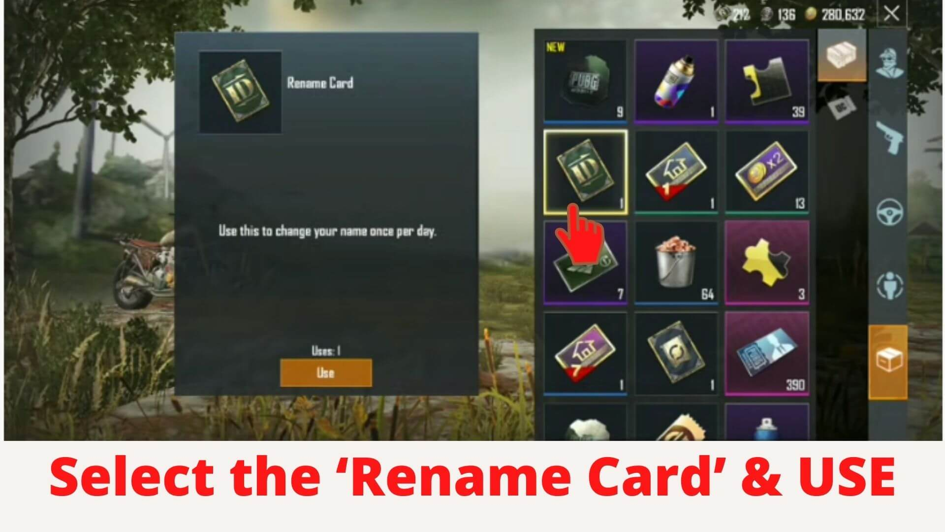user name of the PUBG