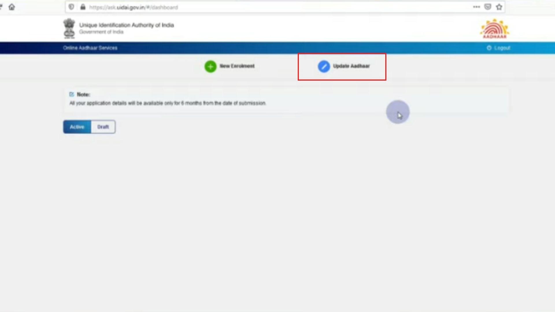 click to update Aadhaar